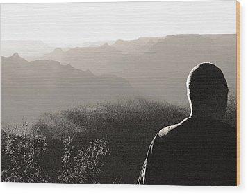 Man At Grand Canyon Wood Print by Arkady Kunysz