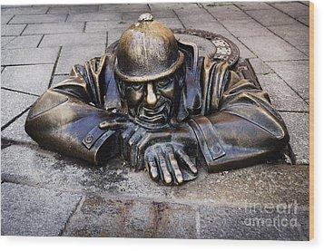 Man At Work In Bratislava Wood Print by Jelena Jovanovic