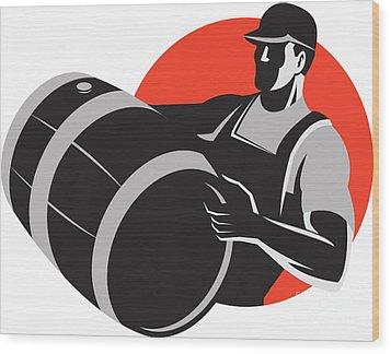 Man Carrying Wine Barrel Cask Keg Retro Wood Print by Aloysius Patrimonio