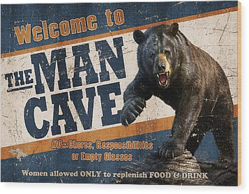 Wood Print featuring the painting Man Cave Balck Bear by JQ Licensing