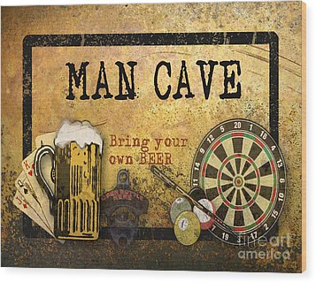 Man Cave-bring Your Own Beer Wood Print by Jean Plout
