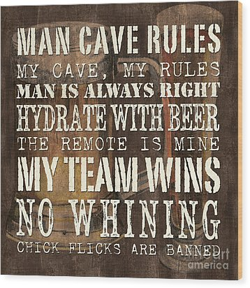 Man Cave Rules Square Wood Print by Debbie DeWitt