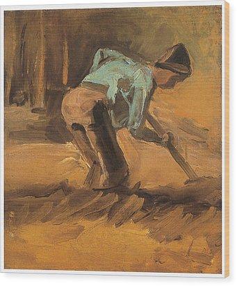 Man Digging Wood Print by Vincent van Gogh