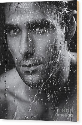 Man Face Wet From Water Running Down It Black And White Wood Print by Oleksiy Maksymenko