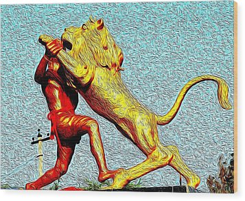Man Fighting With Lion Bravery Wood Print by Deepti Chahar
