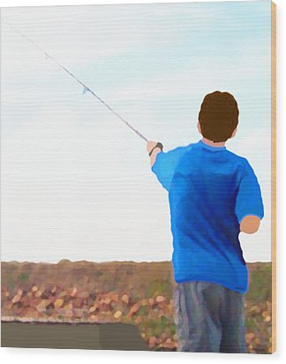 Man Fishing Wood Print