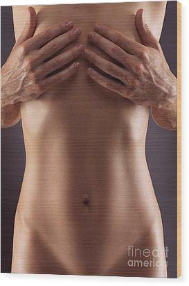 Man Hands Covering Nude Woman Breasts Wood Print by Oleksiy Maksymenko
