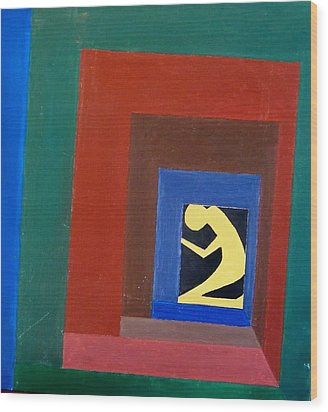Man In A Box Wood Print by Lenore Senior