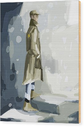 Man In A Trench Coat Fashion Illustration Art Print Wood Print by Beverly Brown Prints