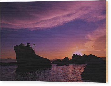 Wood Print featuring the photograph Man In Sun At Bonsai Rock by Sean Sarsfield