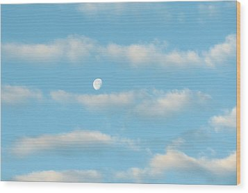 Man In The Moon In The Clouds Wood Print by Fortunate Findings Shirley Dickerson