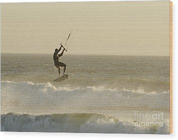 Man Kitesurfing On High Waves Wood Print by Sami Sarkis