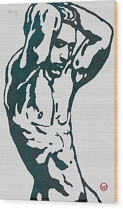 Man Nude Pop Stylised Etching Art Poster  Wood Print by Kim Wang