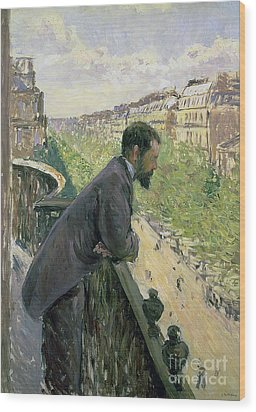Man On A Balcony Wood Print by Gustave Caillebotte