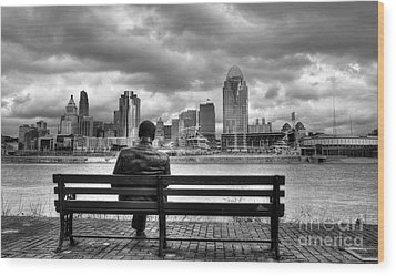 Man On A Bench Wood Print