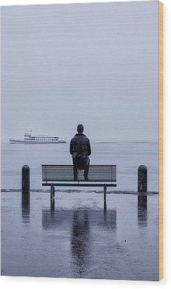 Man On Bench Wood Print by Joana Kruse