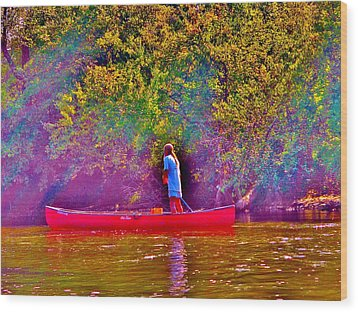 Man On River Wood Print by Hominy Valley Photography