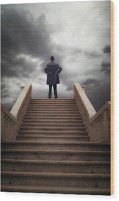Man On Stairs Wood Print by Joana Kruse