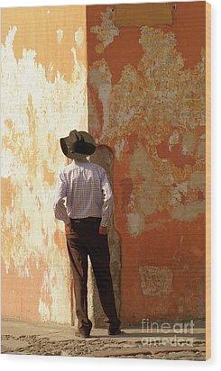 Wood Print featuring the photograph Man On The Corner Antigua Guatemala by John  Mitchell