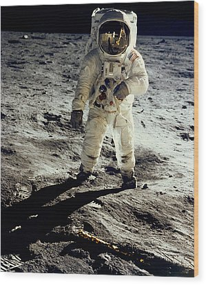 Man On The Moon Wood Print by Neil Armstrong/Underwood Archive