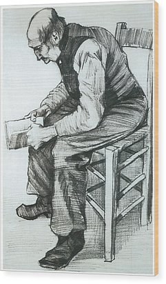 Man Reading The Bible Wood Print by Vincent van Gogh