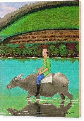 Man Riding A Carabao Wood Print by Cyril Maza