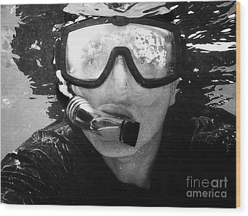 Man Snorkeling With Mask And Snorkel In Clear Water Dry Tortugas Florida Keys Usa Wood Print by Joe Fox