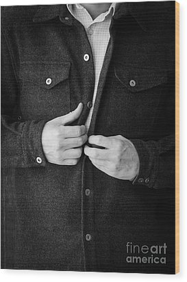 Man Unbuttoning His Shirt Wood Print by Edward Fielding
