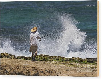 Man Versus The Sea Wood Print by Mike  Dawson