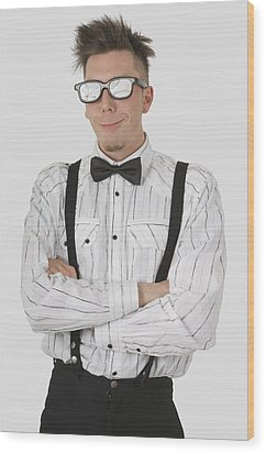 Man Wearing Sunglasses Suspenders And Wood Print by Stock Foundry