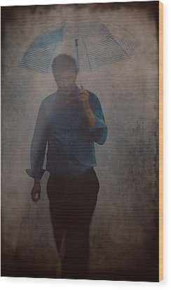 Man With An Umbrella Wood Print