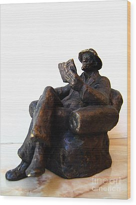 Man With Book Wood Print by Nikola Litchkov