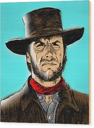 Wood Print featuring the mixed media Clint Eastwood by Salman Ravish