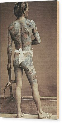 Man With Traditional Japanese Irezumi Tattoo Wood Print by Japanese Photographer