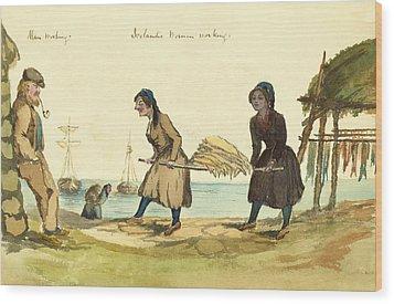 Man Working And Icelandic Women Working Circa 1862 Wood Print by Aged Pixel