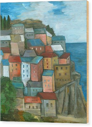 Manarola Cinque Terre Wood Print by Trish Toro