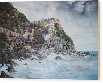 Wood Print featuring the painting Manarola Italy by Jean Walker