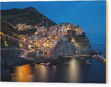 Wood Print featuring the photograph Manarola by Mihai Andritoiu