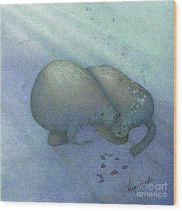 Manatees Wood Print by Wayne Hardee