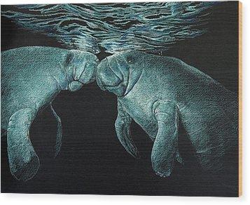 Manatees Wood Print