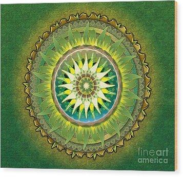 Mandala Green Sp Wood Print by Bedros Awak