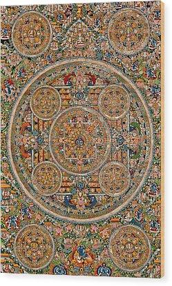 Mandala Of Heruka In Yab Yum And Buddhas Wood Print