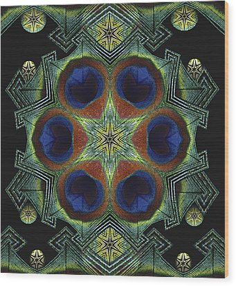 Wood Print featuring the digital art Mandala Peacock  by Nancy Griswold