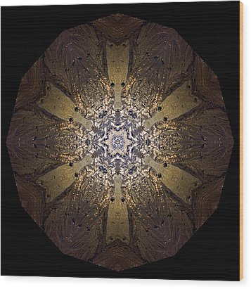 Wood Print featuring the photograph Mandala Sand Dollar At Wells by Nancy Griswold