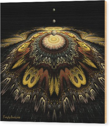 Mandala The Nun Did Not Have Time To Finish. 2013 80/80 Cm.  Wood Print by Tautvydas Davainis