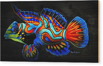 Mandarin Fish Wood Print by Phyllis Beiser