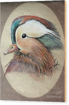 Mandarin Wood Duck Wood Print by Joey Nash