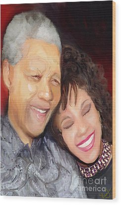 Wood Print featuring the painting Mandela And Whitney by Vannetta Ferguson