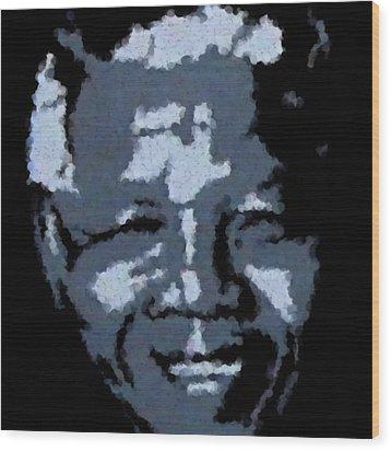 Mandela Wood Print by Asbjorn Lonvig