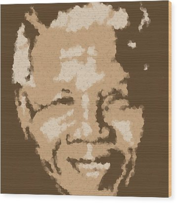 Mandela South African Icon  Brown Symbolizes High Ethical Standards And He Is Rewarded Le Prix De Le Wood Print by Asbjorn Lonvig